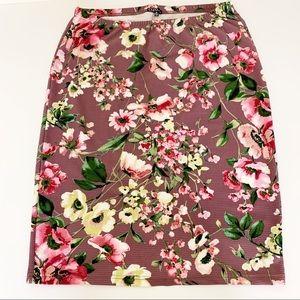 Cleo Floral Scuba Knit Pencil Skirt, Size 3X